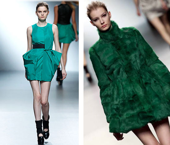 abrigo de piel verde de amaya arzuaga