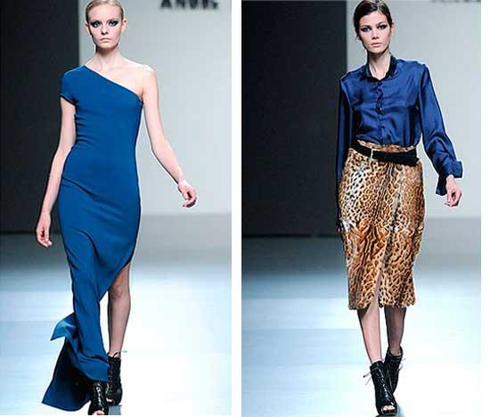vestido y falda azul klein de Ángel Schlesser