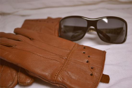 guantes piel marrón
