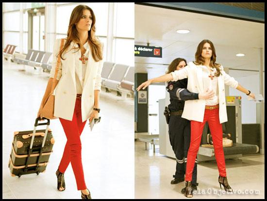 pantalón pitillo rojo