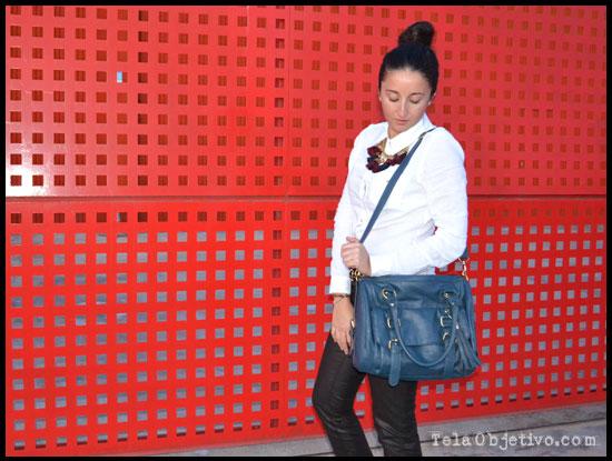 bolso azul doble asa