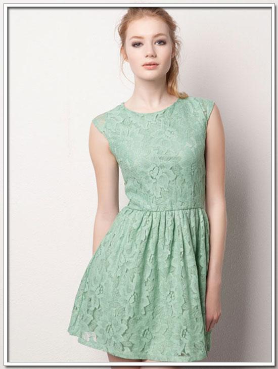 vestido verde menta pull&bear