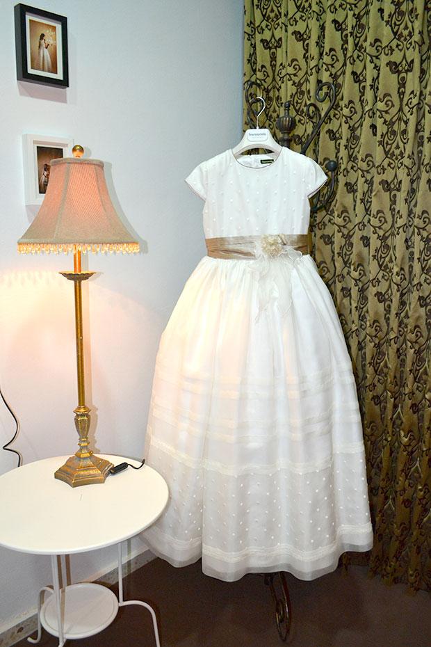 vestido comunion cinta verde