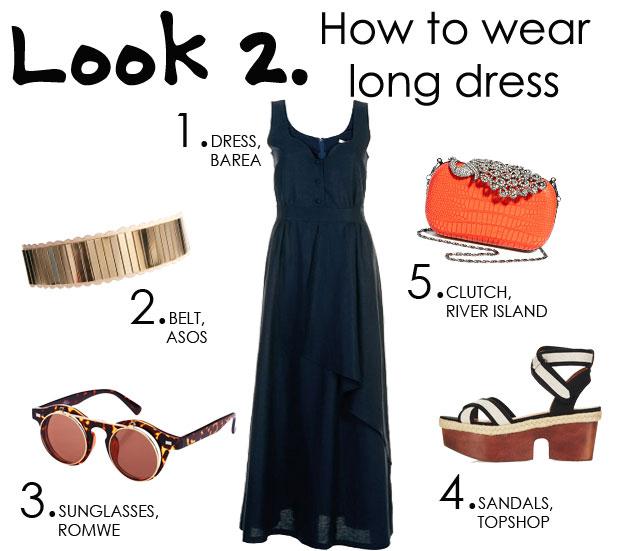combinar un vestido largo