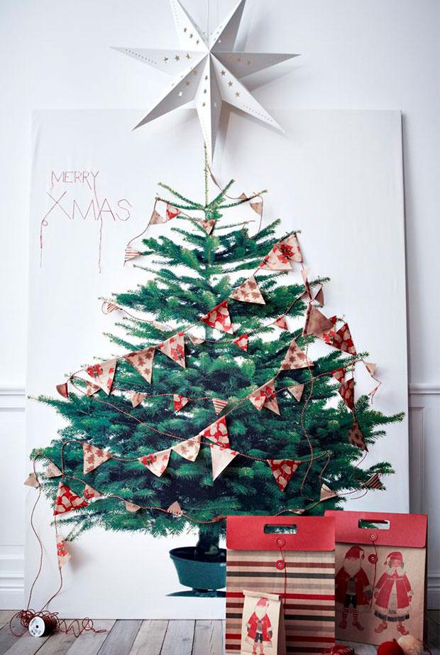 arbol de navidad en pared