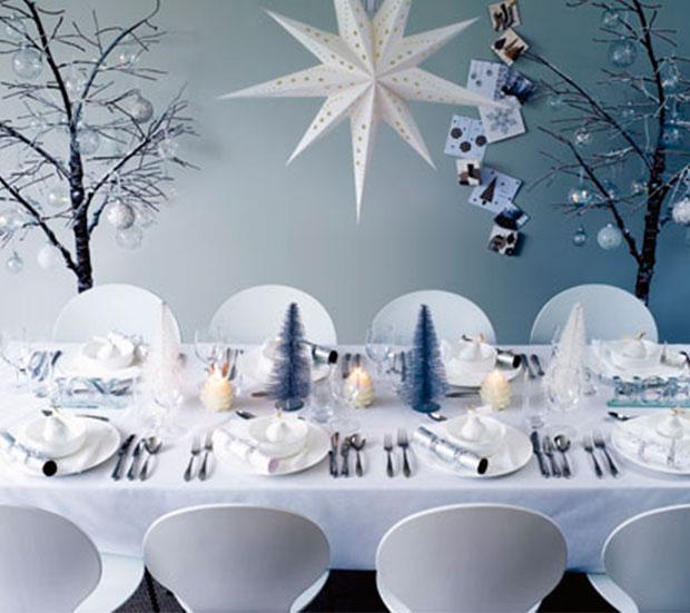 decoración navidad azul