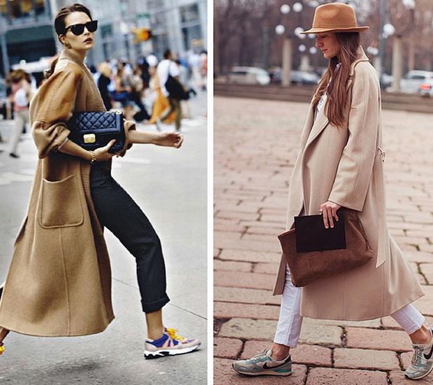 combinar abrigo camel con look sport