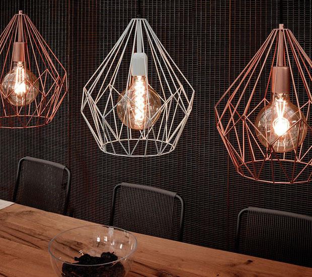 lampara-techo-colgante-jaula-acero-cobre-vintage