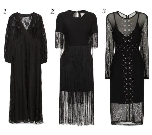 vestidos midi negros
